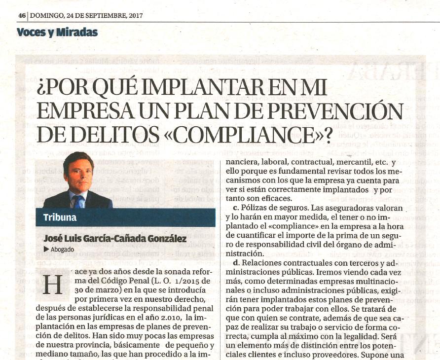 """¿Por qué implantar en mi empresa un Plan de Prevención de Delitos """"Compliance""""?"""